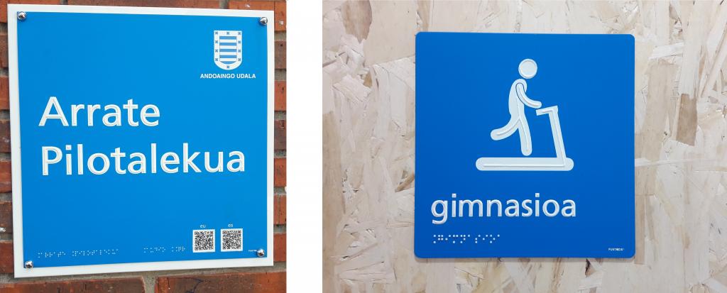 2 señales. Exterior con nombre de frontón e interior de gimnasio