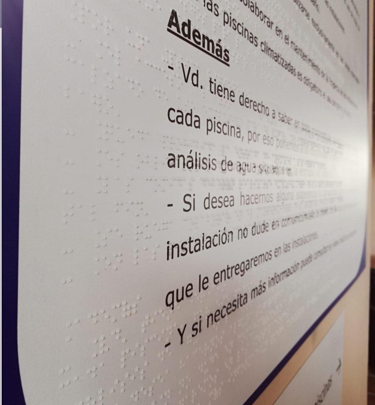 Normas de piscina en Braille