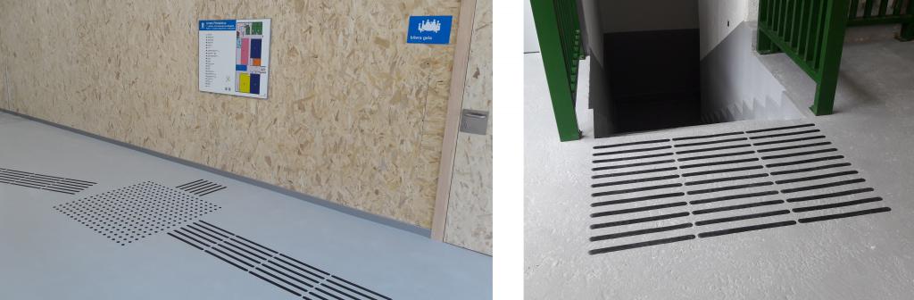 2 imágenes de ejemplos de podotáctiles, cintas de color negro. El primero un encaminamiento y cruce que lleva a un plano háptico y a los tornos. La segunda es un preaviso a escaleras